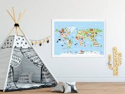 World Map Poster For Kids Playroom Wall Art Kids Room Decor Etsy