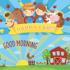 Cartoon Farm Banners Rural Landscape With Wooden By Happypictures