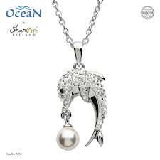 silver dolphin pearl pendant adorned