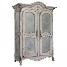 vintage white french mirrored armoire