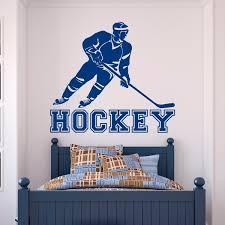 Hockey Wall Decal Sports Wall Stickers Hockey Player For Teens Boys Room Bedroom Dorm College Wall Art Decor A087 Wish