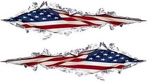 Ripped Torn Metal Style Decals American Flag 12 Reflective Rip01 Flag Decal Usa Patriotic Flag