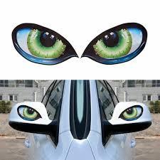 2pcs Waterproof 3d Evil Cat Eyes Mirror Funny Car Sticker Window Decal Vinyl