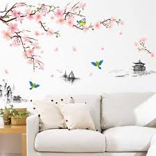 Amazon Com Wall Stickers Ink Style Peach Flower Gazebo Pattern Wall Sticker Home Decor Removable Floral Wall Decals For Tv Background Wall Bedroom Living Room Study Decorative Wall Sticker Peach Flower Home Kitchen