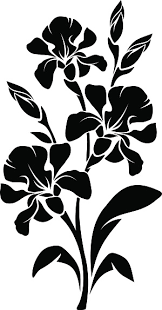 Black Silhouette Of Iris Flowers Vector Illustration Stock Illustration Download Image Now Istock