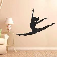 Leaping Dancer Wall Decal Vinyl Sticker Dance Studio Bedroom Wall Home Decor Girls Room Wall Art Black S B01d435ho8