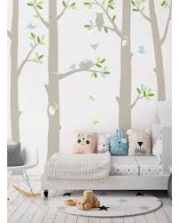 New Bargains On Carreno Nature Tree Scene Wall Decal Harriet Bee Color Powder Blue Size 108 H X 110 W