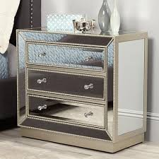 drawer silver mirrored accent chest