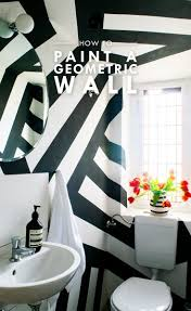 diy geometric painted wall little