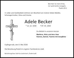 Traueranzeigen von Adele Becker   trauer-anzeigen.de