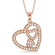 triple heart shaped diamond pendant