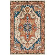 hand knotted burnt orange blue area rug