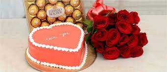 gift flowers cake on valentine s day