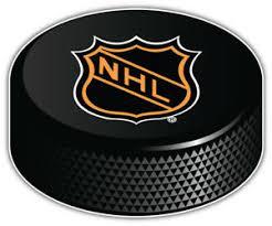 Nhl Old Logo Hockey Puck Car Bumper Sticker Decal 3 5 Or 6 Ebay