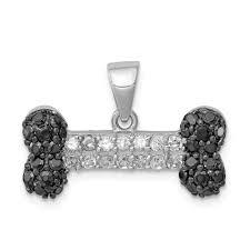 clear cz dog bone pendant