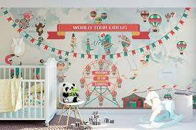 World Tour Circus Wall Sticker Mural Funny Animal Circus Nursery Wallpaper Removable Carnival Baby Bedroom Art Wall Kids Nursery Wallpaper Wall Stickers Murals
