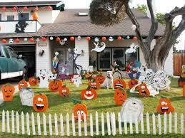 Decoration Halloween Fencing Decoration With White Short Fence Fake Gravestones Fake Pumpkin Faces Ghosts Pictures Creepy Halloween Fencing Decorating Ideas Fence Home Halloween Fence Decoration Image 2193900 On Favim Com