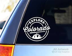 Explore Colorado Decal With Mountains By Salt City Graphics