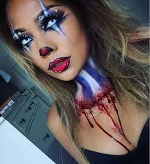 red white and blue clown makeup every