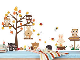 Forest Themed Wall Decals Animal For Baby Room Woodland Nursery Art Australian Uk Friends Vamosrayos