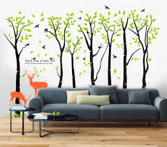 Mix Decor Tree Wall Decal 7 Trees Wall Sticker Large Family Forest For Livingroom Kid Baby Nursery Room Deer Wooland Decoration Party Birthday Gift 118x83 Inch Black Green Amazon Com