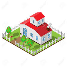 Two Story House In Isometric Design View With White Fence Apple Royalty Free Cliparts Vectors And Stock Illustration Image 100487106