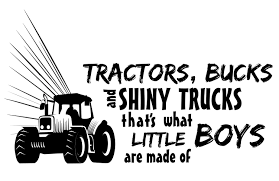 Wall Art Lettering Quotes Decal Tractors Bucks And Shiny Trucks That S What Little Boys Are Made Of 12 X 20 Kids Boys Bedroom Living Room Adhesive Vinyl Decoration Sticker