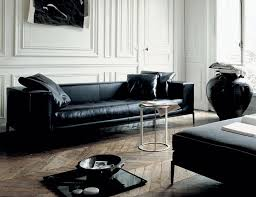 black leather sofa vintage