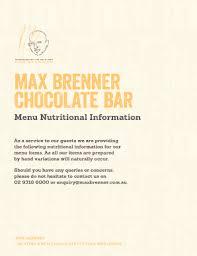 max brenner chocolate bar menu