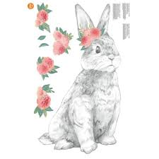 Wall Pops Pastel Tabitha The Bunny Wall Decal Dwpk2796 The Home Depot
