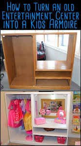 Add Extra Storage In Your Kids Room By Converting An Old Entertainment Center Into A Kids Armoire Dress Up Storage Dress Up Closet Old Tv Stands