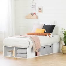 white twin platform bed with storage