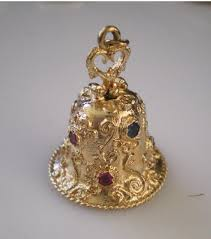 Vintage c1950 Large 14K Sapphire & Ruby Pearl Bell Charm Very Charming  Actually Rings: 290: Removed | Vintage, Sapphire, Pearls