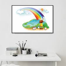 Canvas Oil Paintings Wall Pictures Kids Room Decor Rainbow Poster Cloud Nordic Prints Baby Decoration Room Home Decor Pop Art Wallcorners Art Canvas