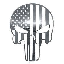 American Car Craft 142068 American Pride Patriot Skull Emblem 6 Stainless Steel Polished