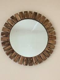 round wall mirror handmade wooden