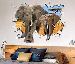Elephant Breaking Through Wall Decal Awesome Stuff 365 3d Wall Wall Decals Elephant