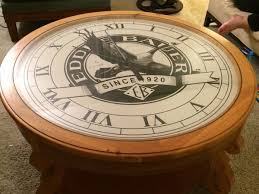 ed bauer clock coffee table for