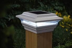 White Aluminum Solar Post Cap 15 Lumens Expansive Fence