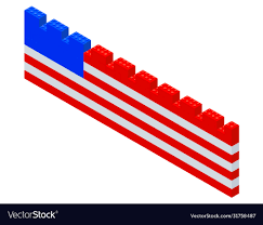 American Flag On A Fence Assembled From A Vector Image