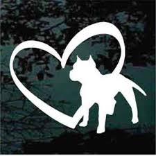 Pitbull Inside Heart Decals Car Window Stickers Decal Junky
