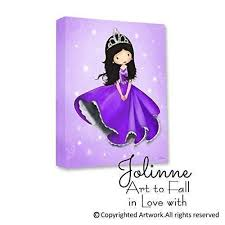 Amazon Com Princess Room Decor Canvas Wall Art For Girls Bedroom Purple Nursery Artwork Ready To Hang Custom Hair And Skin Color Handmade