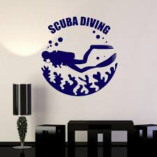 Vinyl Wall Decal Scuba Diving Underwater Diver Water Bubbles Stickers Wish