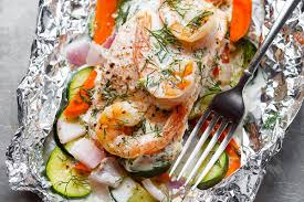 Creamy Shrimp and Salmon Foil Packets ...