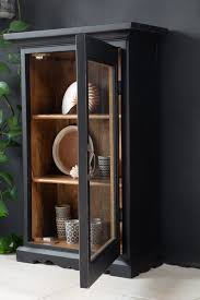 black wooden glass display cabinet