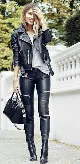 black faux leather pants with multiple