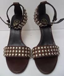 ash brown and gold studded high heel