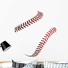 Amazon Com Wallmonkeys Baseball Stitches Wall Decal Peel And Stick Graphic 36 In W X 32 In H Wm367611 Furniture Decor