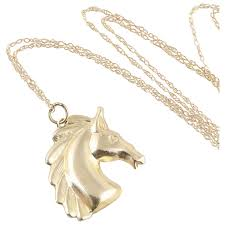 14k yellow gold horse necklace 18 inch