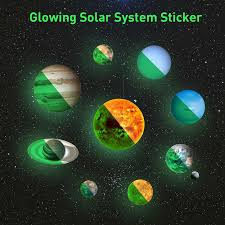 10 Planet Solar System Fluorescent Luminous Planets Pvc Wall Stickers Glow In Dark Ten Planets Galaxy Kids Bedroom Wall Decal Wall Stickers Aliexpress